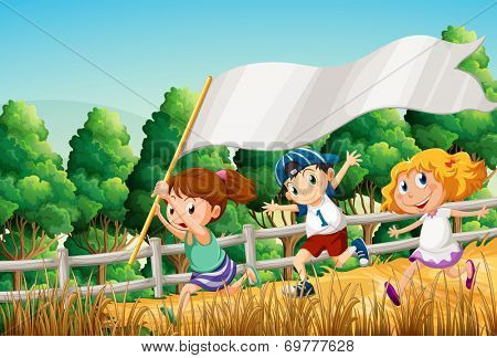 Illustration of the kids at the woods with an empty banner