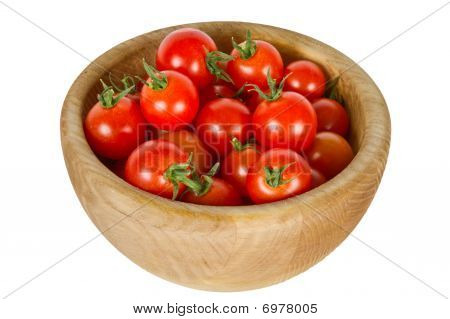Cherry Tomatoes In A Wooden Bowl
