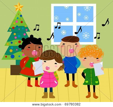 Cartoon Christmas carolers