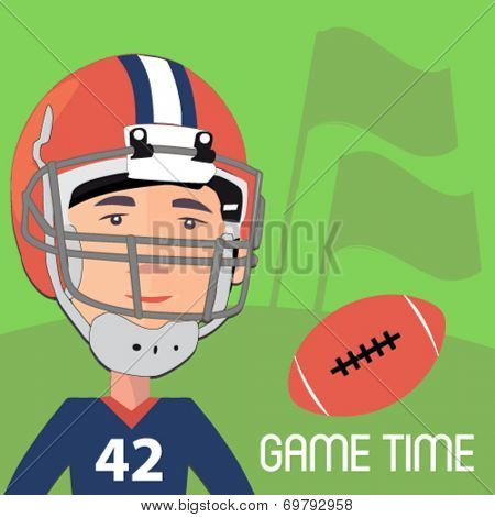american football player with a ball - flat design vector