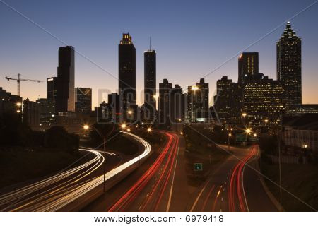 Freeway Into Downtown At Night