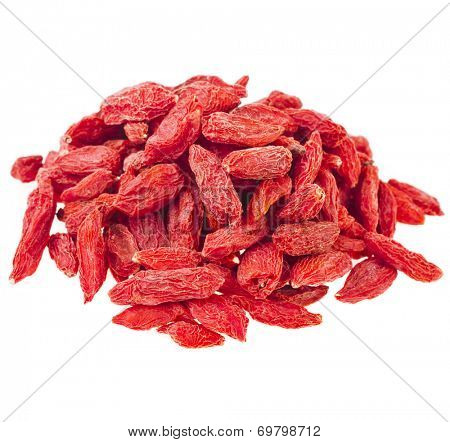 Goji berries. The addition to the tea beverage  isolated on white background