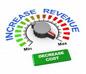 3d illustration of knob of increase revenue set at max with button to decrease cost. poster