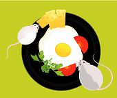 little mouse wants to eat the fried eggs from a frying pan poster