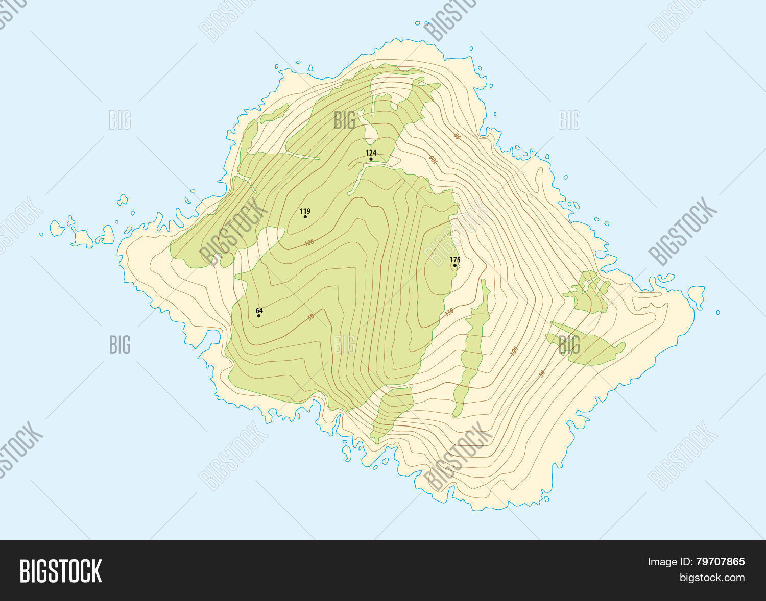 Topographic map vector photo free trial bigstock topographic map of a fictional island gumiabroncs Choice Image