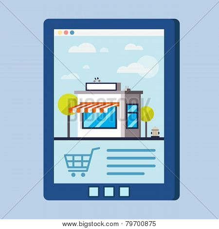 Flat Design Vector Concept With Shop Illustration