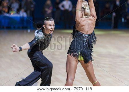 Professional Belarussian dance couple of Kosyakov Egor and Belmach Anastasiya performs Adult Latin-A