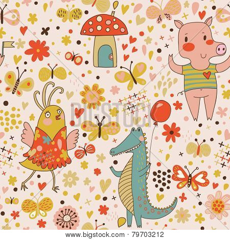 Cartoon birthday seamless pattern of funny animals. Crocodile, pig and cute bird with butterflies. Seamless pattern can be used for wallpaper, pattern fills, web page background, postcards.
