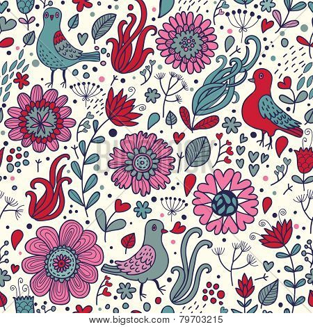 Awesome pigeons in flowers. Seamless pattern can be used for wallpapers, pattern fills, web page backgrounds,surface textures. Gorgeous seamless floral background