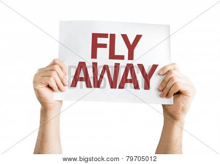 Fly Away card isolated on white background