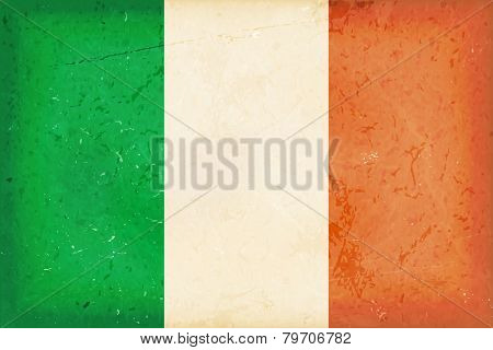 Vintage style flag of the Republic of Ireland. Grunge Elements give it an used and dirty feeling. Hoist (width) / Fly (length) of the flag = 1 to 2