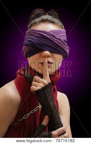 Blindfolded Girl Finger Over Lips Violet Background