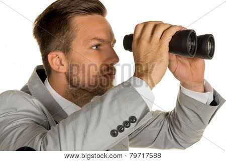a manager young entrepreneurs with binoculars looking for jobs or jobs