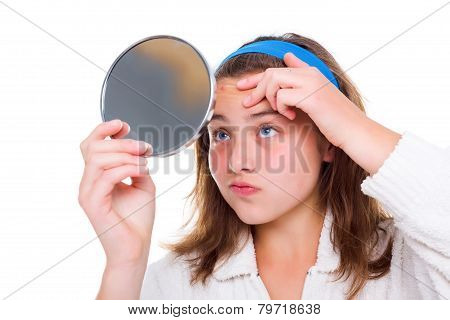 Girl Examine Her Pimples In The Mirror