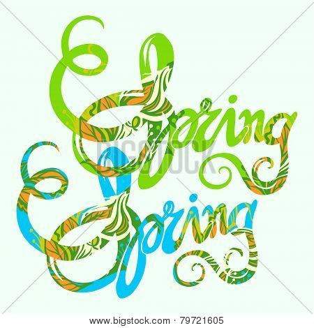 Handlettering spring inscription pattern-model for design of gift packs patterns fabric wallpaper web sites etc. poster
