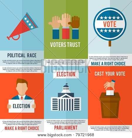 Election voting and debate mini poster set isolated vector illustration poster