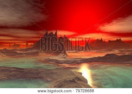 3D Rendered Fantasy Alien Planet. Rocks And  Sunset