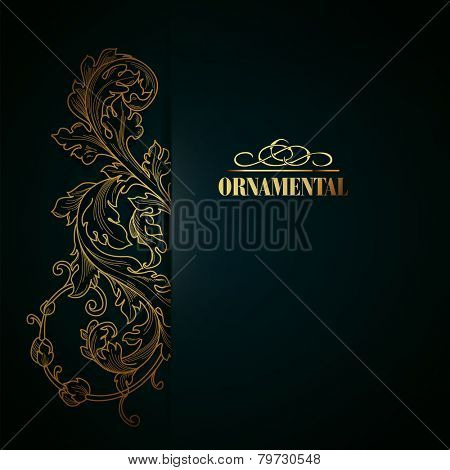 Beautiful elegant background with lace floral ornament and place for text. Design elements, ornate background. Vector illustration. EPS 10.