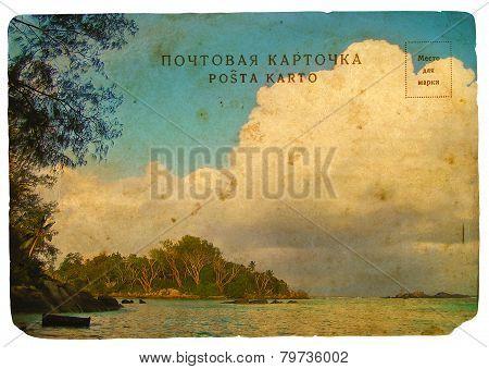 Seychelles Landscape. Stylization Old Postcard, Isolated