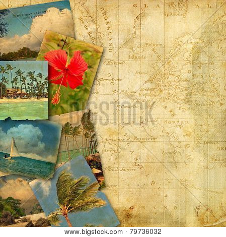 Old Postcards On Ancient Map