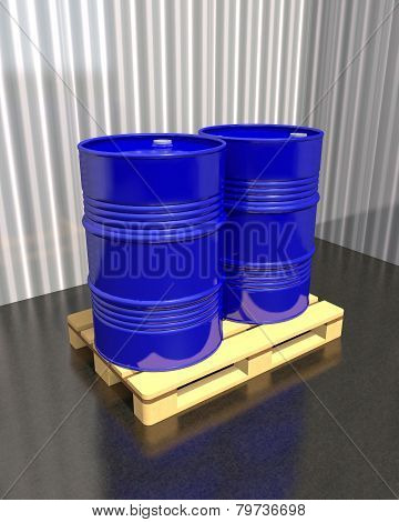Barrels Of Fuel On A Pallet In The Industrial Warehouse.