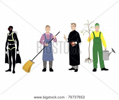 Vector illustration of a four professions men poster
