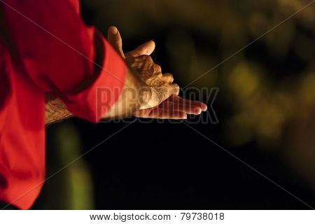 Close Up Of The Clasped Hands Of A Male Flamenco Dancer