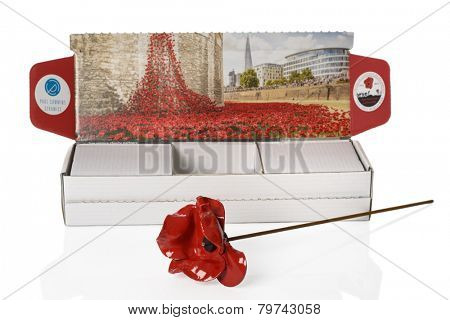 TELFORD, UK - JAN 09, 2015: A poppy from the 'Blood Swept Lands & Seas Of Red' art installation at the Tower Of London. Artist Paul Cummins created the installation for the Centenary of World War One