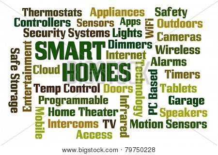 Smart Homes word cloud on white background
