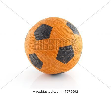 Dutch orange soccer ball isolated on white background poster