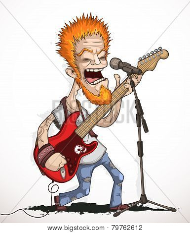 Singing rock guitarist