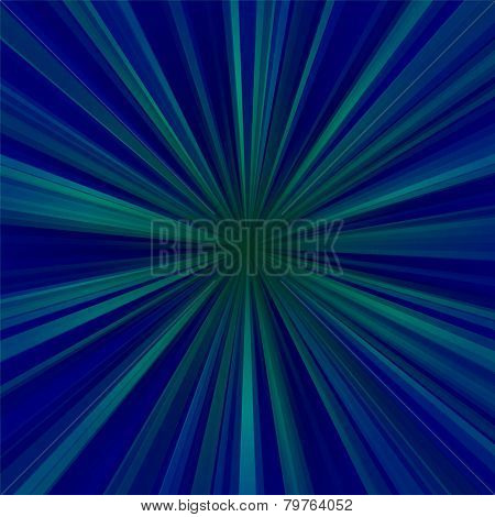 Abstract blue centralized background of regular rays poster