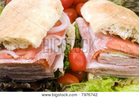 gourmet expensive italian hero sandwich ciabatta bread ham salami prosciutto red onions radicchio poster