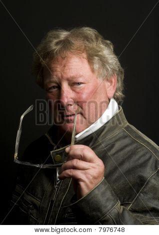 Handsome Middle Age Senior Man Motorcycle Jacket