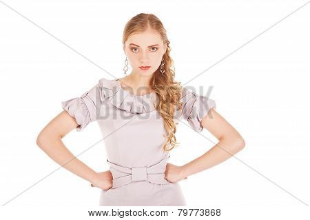 Outraged woman on white background. Studio