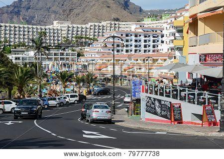 Av. Maritima In Puerto De Santiago, Tenerife, Canary Islands, Spain.
