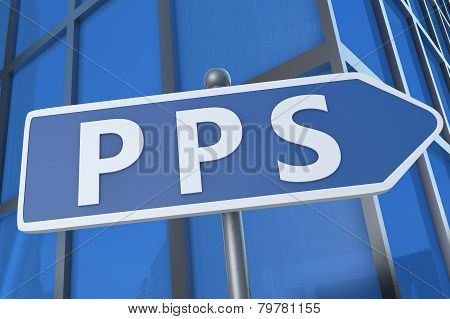 PPS - Pay per Sale - illustration with street sign in front of office building. poster