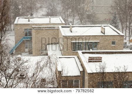 Winter Roofs Of Houses
