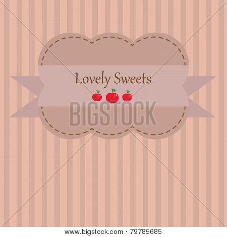 Adorable vintage styled background sticker with apples and stripes