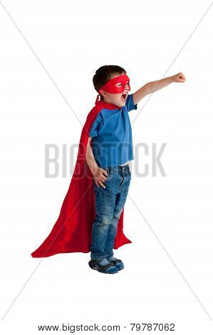 Superhero Boy Isolated On White