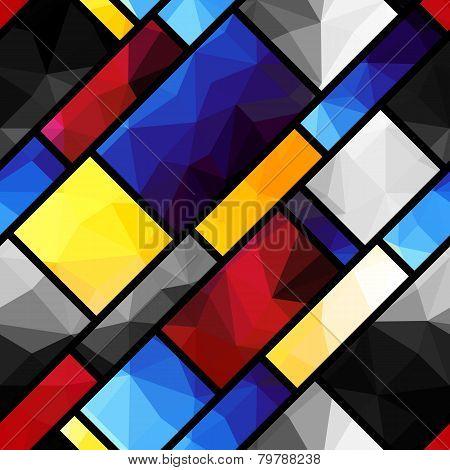 Geometric pattern in Mondrian's style
