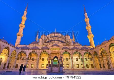 Night on Sultanahmet Mosque main yard at Istanbul poster