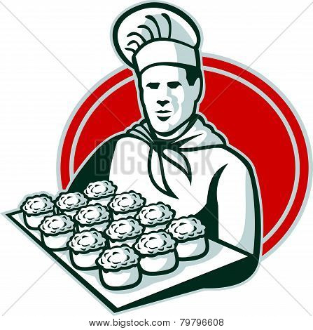 Baker Serving Tray Of Pork Meat Pies Retro