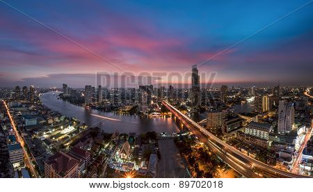 Bangkok Transportation At Dusk (thailand)