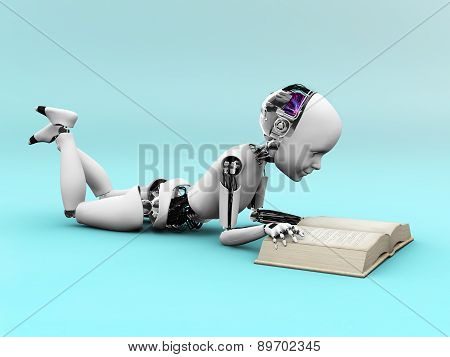 Robot Child Reading A Book.