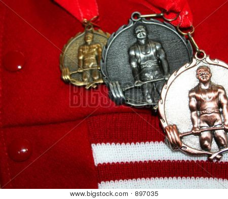 High School Weight Lifting Medals & Lettermans Jacket