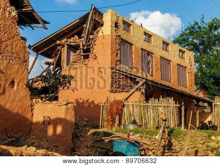 KOT DANDA, LALITPUR, NEPAL - MAY 2, 2015: Damaged houses after the 7.8 earthquake that hit Nepal on April 25, 2015.