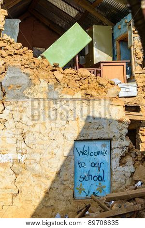 KOT DANDA, LALITPUR, NEPAL - MAY 2, 2015: The school is severely damaged after the 7.8 earthquake that hit Nepal on April 25, 2015.
