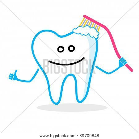 Smiling tooth with toothbrush. Dental hygiene illustration