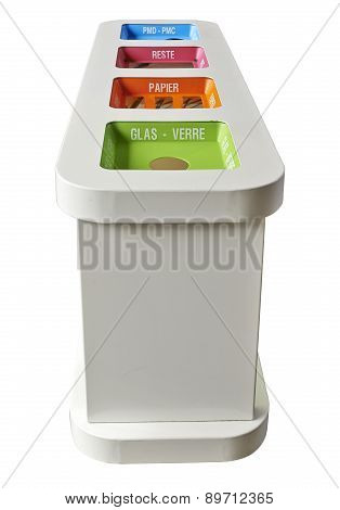 Colorful Recycle Bins Isolated - Clipping Path